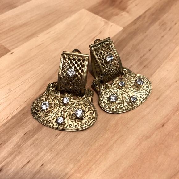 Vintage Clip-On Metal Earrings